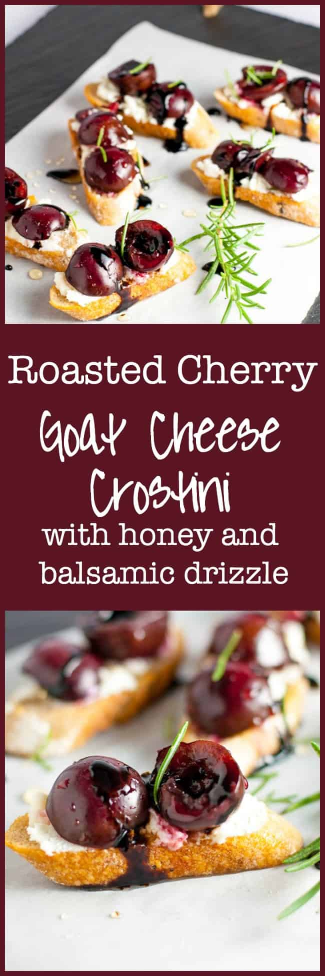 Easy and delicious Roasted Cherry Goat Cheese Crostini with honey and balsamic drizzle. Incredible flavours!  www.flavourandavour.com