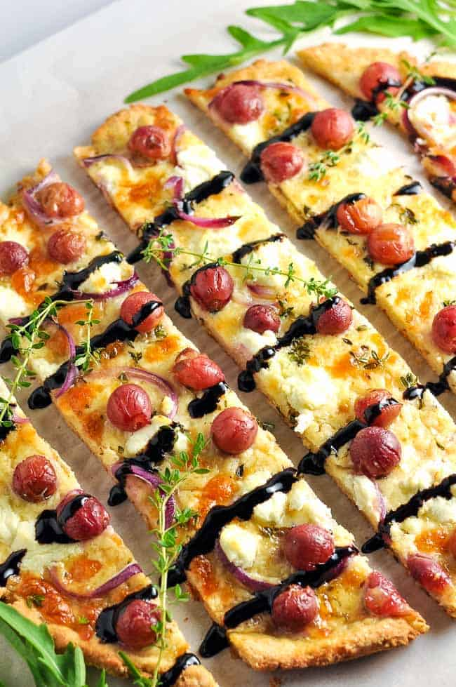 Roasted Grape Goat Cheese Balsamic Pizza (gluten-free) www.flavourandsavour.com