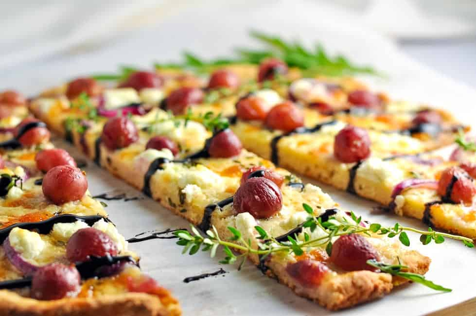 Roasted Grape Goat Cheese Balsamic Pizza (gluten-free)|www.flavourandsavour.com