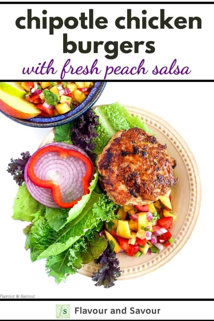 Chipotle Chicken Burgers with Fresh Peach Salsa with text overlay