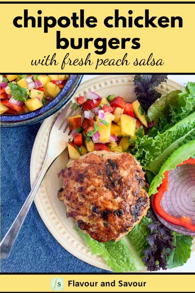 Pinterest Pin for Chipotle Chicken Burgers with fresh Peach Salsa