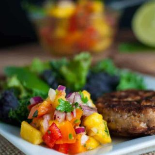 Chipotle Chicken Burgers with Fresh Peach Salsa. Heat up the grill and relax with this easy meal ofChipotle Chicken Burgers with Fresh Peach Salsa. Greatfor lazy summer days or for busy week nights!|www.flavourandsavour.com