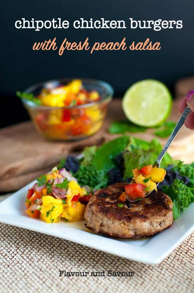 Chipotle Chicken Burger with peach salsa