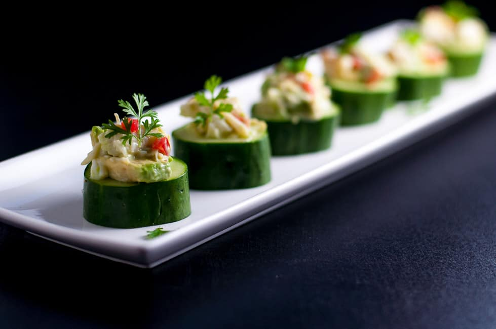 Crab-Stuffed Cucumber Cups. An easy healthy appetizer that's gluten-free and dairy-free! |www.flavourandsavour.com