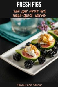 Pinterest Pin for Fresh Figs with Goat Cheese and Maple-Glazed Walnuts