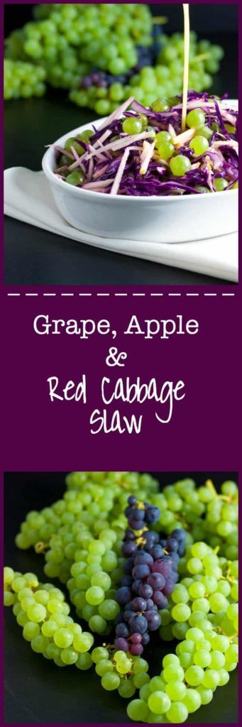 Grape, Apple and Red Cabbage Slaw. A paleo side dish, full of Vitamin C! It's crunchy, it's tart, and it's sweet! |www.flavourandsavour.com