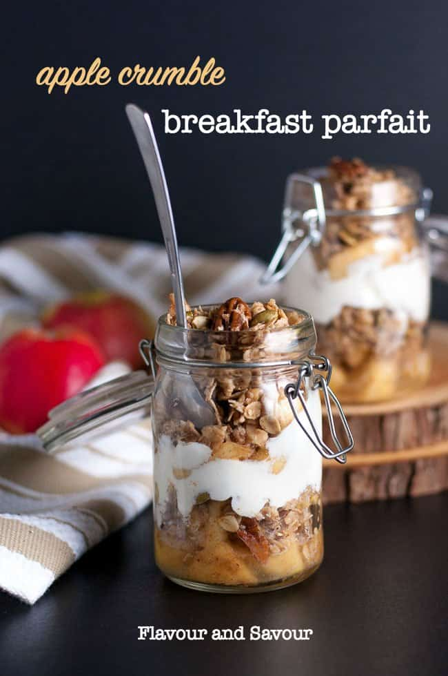 Gluten-Free Apple Crumble Breakfast Parfait layered in a small jar with text overlay