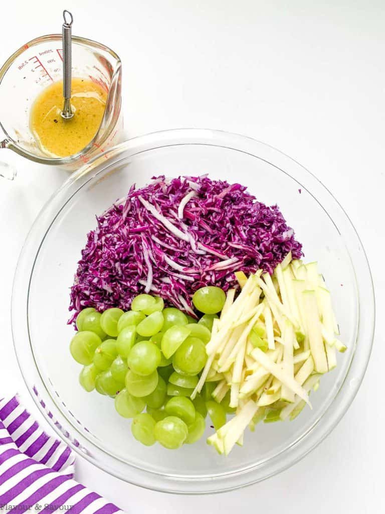 Ingredients for Red Cabbage Slaw in a bowl