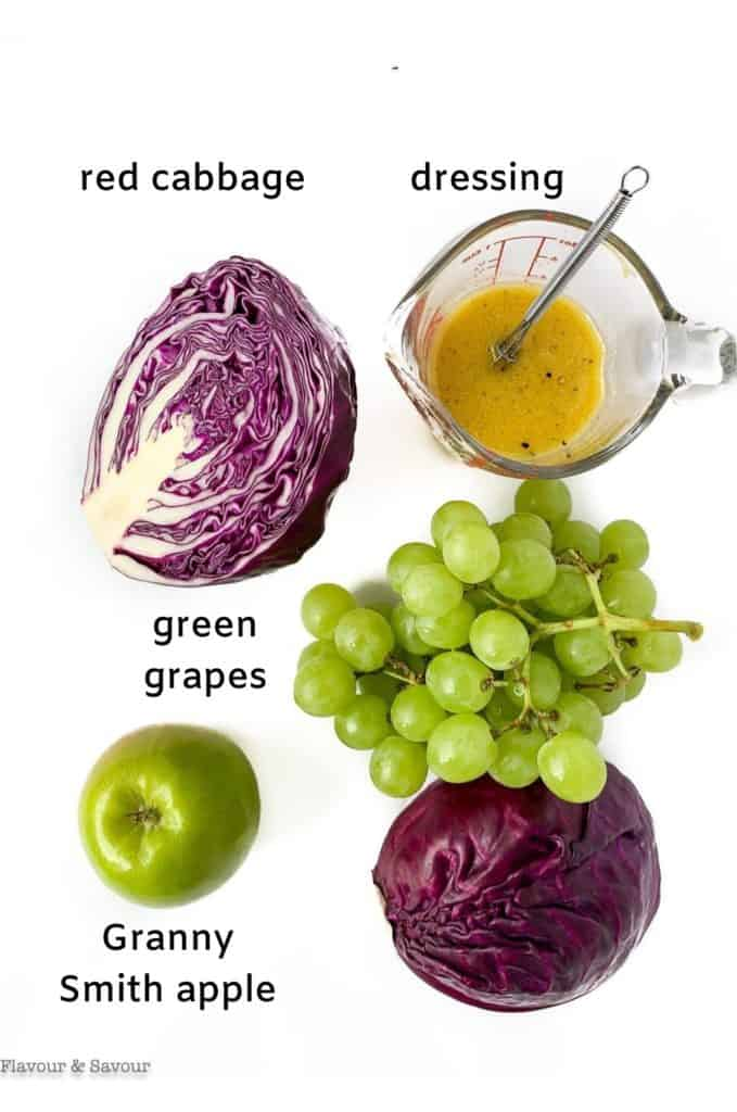 Labeled ingredients for Grape Apple and Red Cabbage Slaw