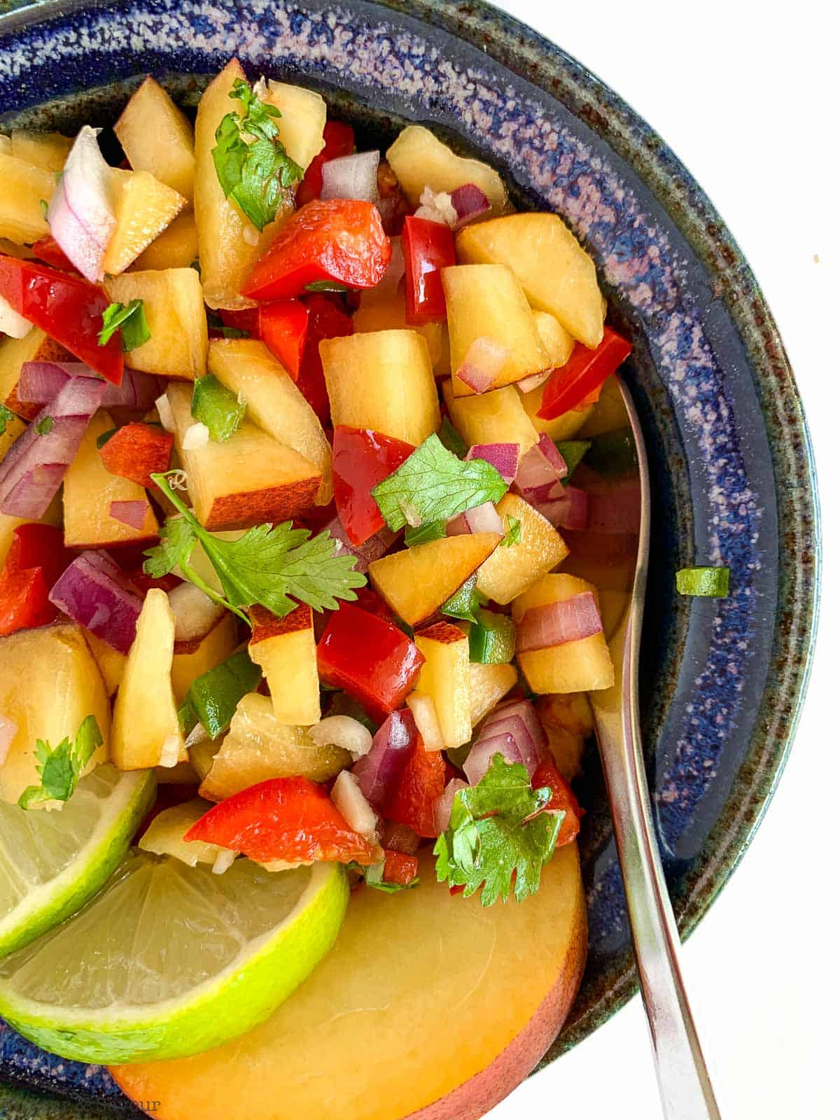 Peach Salsa in a blue bowl
