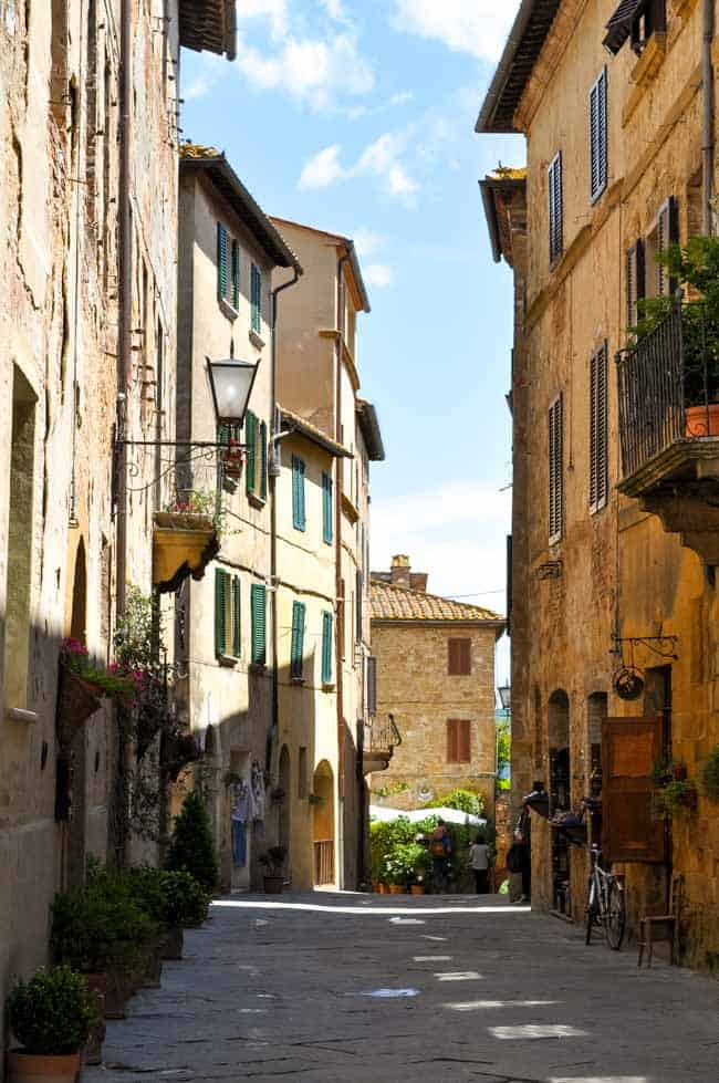 Traveling in the Heart of Tuscany . Street scene in hill town of Tuscany.  www.flavourandsavour.com