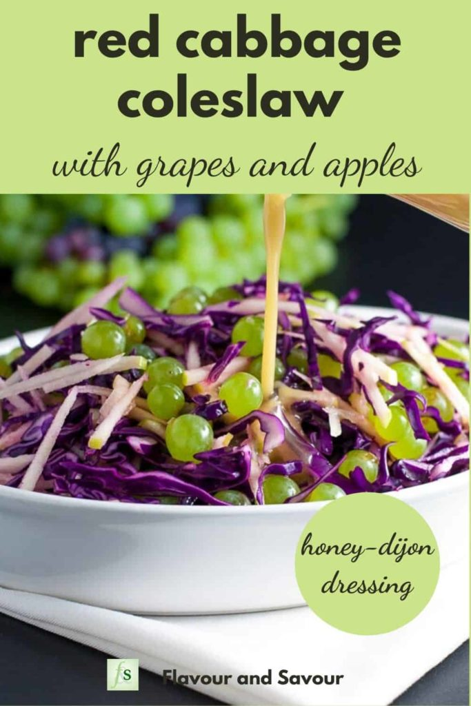 Red Cabbage Coleslaw with apples and green grapes with text overlay