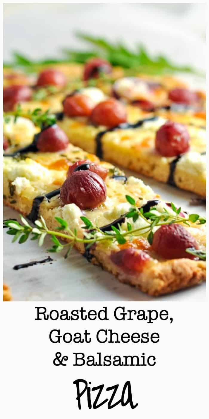 This Roasted Grape Goat Cheese Balsamic Pizza is quick to assemble with only four ingredients and a gluten-free crust. Great as a vegetarian option!  www.flavourandsavour.com