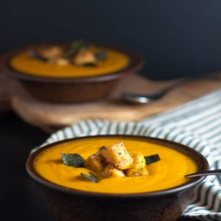 Chipotle Sweet Potato Soup with Polenta Croutons and Toasted Sage Leaves. Warm velvety soup with a hint of smoky heat. Vegan and paleo. |www.flavourandsavour.com