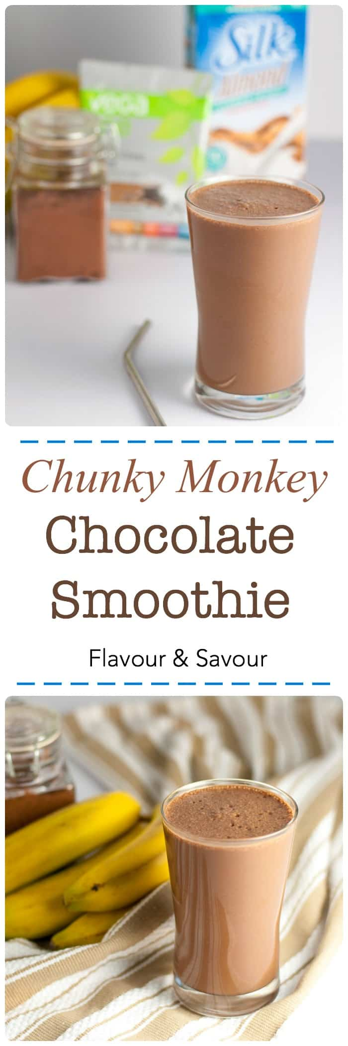 Chunky Monkey Dessert Smoothie. Made with Vega One Nutritional Shake mix and Silk non-dairy milk, banana, peanut or almond butter and thickened with avocado. A healthy dessert! #SilkSummerofSmoothies #Vega #ad