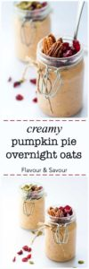 These Creamy Pumpkin Pie Overnight Oats made with warm fall spices make a healthy breakfast to wake up to. Easily made vegan and gluten-free.