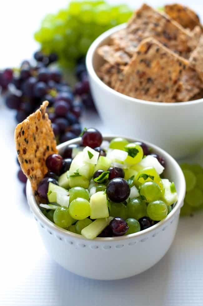 Grape Salsa with Lime and Cilantro. A refreshingly different salsa. Great with chips or on grilled fish or chicken. |www.flavourandsavour.com