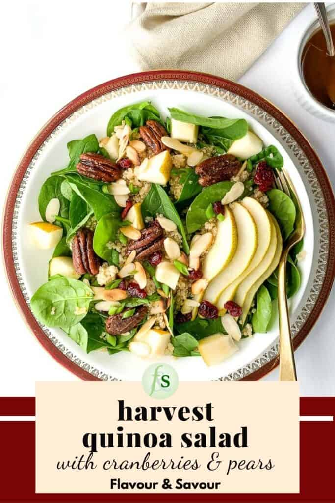 image and text for harvest quinoa salad