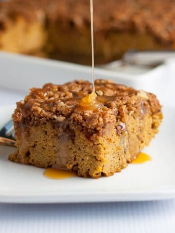 Pumpkin Pecan Coffee Cake with caramel drizzle