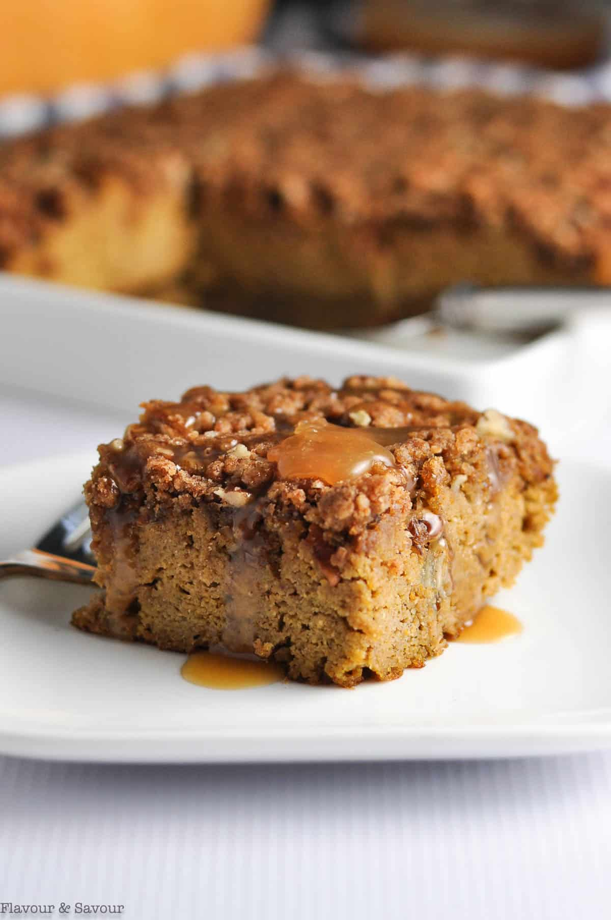 Close up view of Pumpkin Pecan Coffee Cake with streusel topping