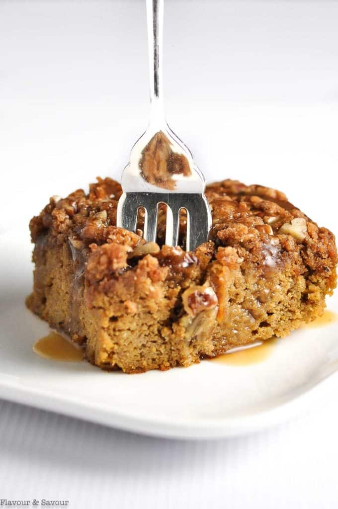 Pumpkin Coffee Cake with a fork in it