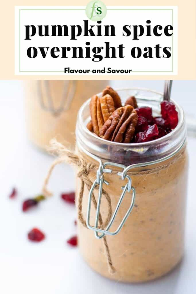 image and text for pumpkin spice overnight oats