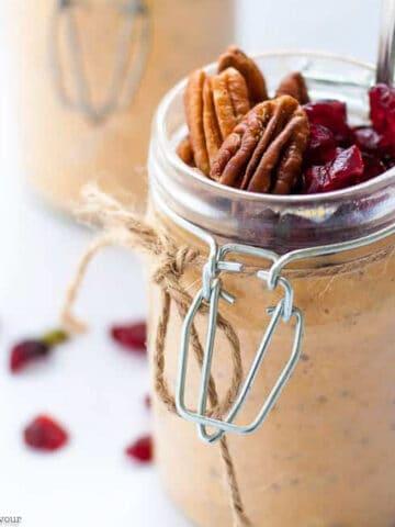pumpkin pie overnight oats in a jar tied with jute