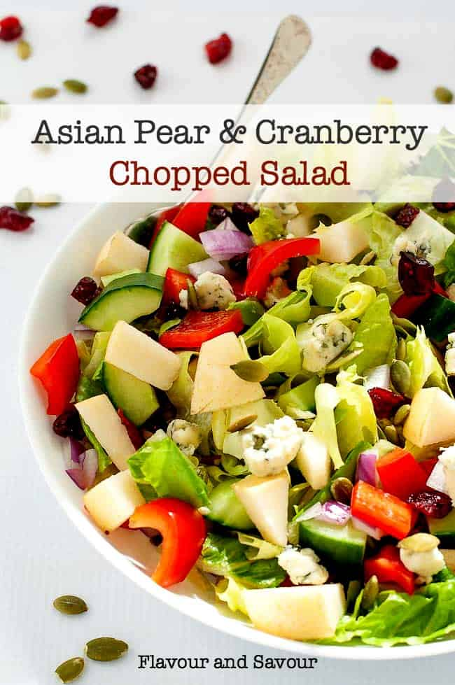 Asian Pear and Cranberry Chopped Salad in serving bowl