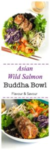 Asian Wild Salmon Buddha Bowl. A superfood protein-packed meal in a bowl, made with #RaincoastTradingCo wild sockeye salmon, Forbidden Rice, kale, red cabbage, carrots, bean sprouts and drizzled with peanut sauce. #ad |www.flavourandsavour.com