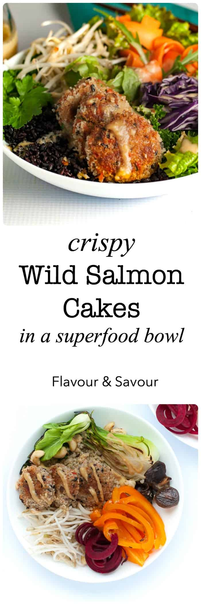 Crispy Wild Salmon Cakes made with RaincoastTrading wild sockeye salmon! These make a yummy, nutritious dinner and they also make fabulous, bite-sized appetizers! |www.flavourandsavour.com