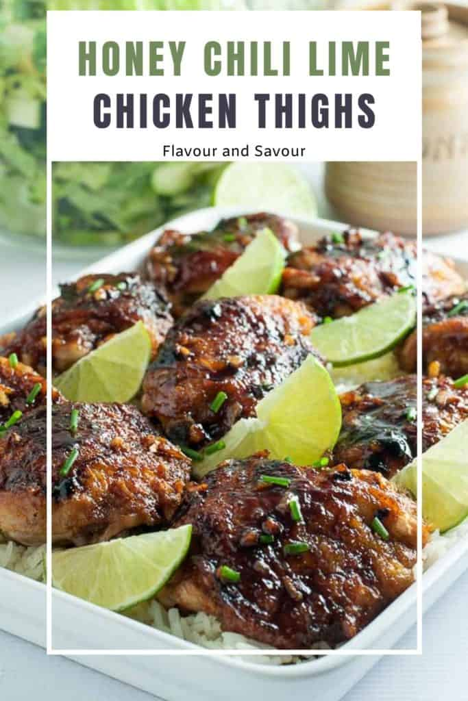 Image and text overlay Honey Chili Lime Chicken Thighs