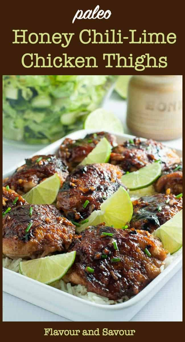 Honey Chili Lime Chicken thighs pin