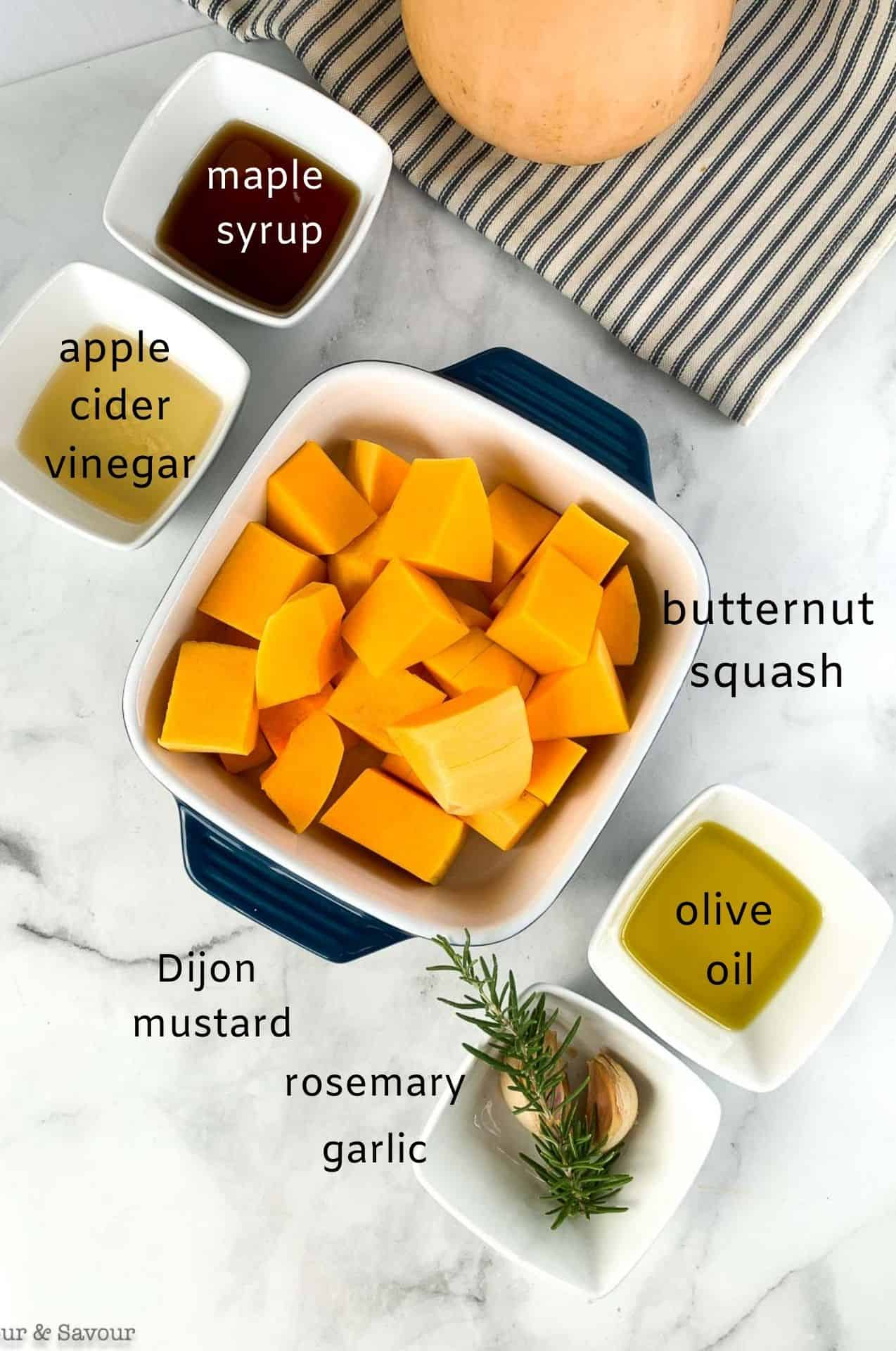 Labeled ingredients Maple Dijon Roasted Butternut Squash