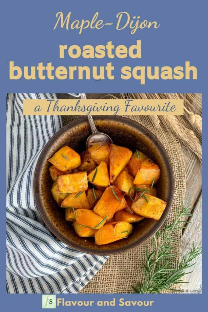 Image with Text Overlay for Maple Dijon Roasted Butternut Squash
