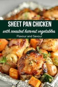 PInterest Pin for Sheet Pan Chicken and Roasted Harvest Vegetables recipe