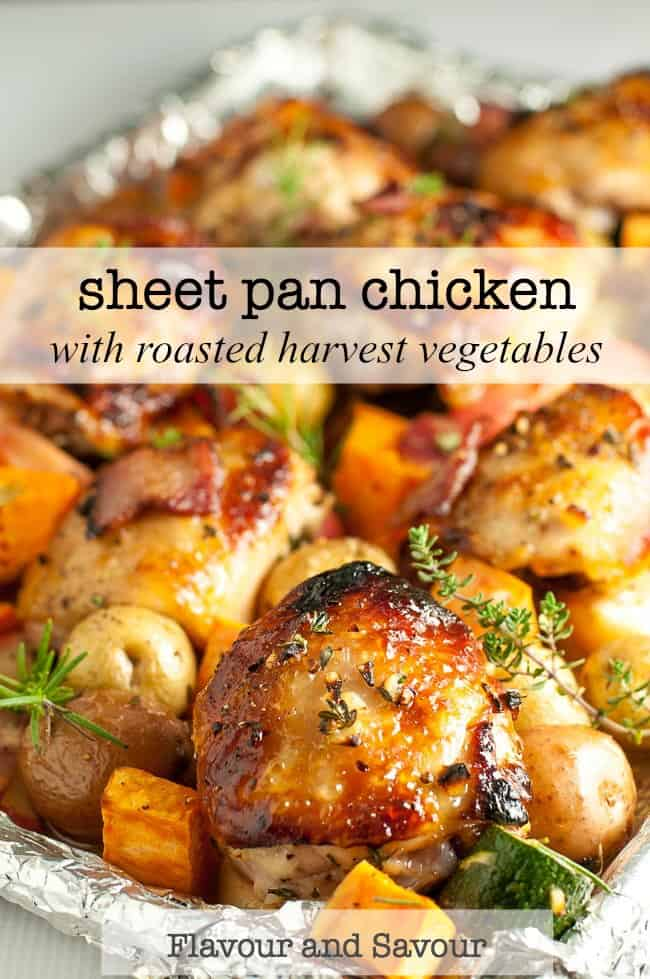 This Sheet Pan Chicken and Roasted Harvest Vegetables is flavoured with bacon and rosemary. Crispy chicken and roasted vegetables make a complete meal, made in one pan, baked in just 30 minutes. #sheetpan #traybake #chicken #roastedvegetables #bacon #rosemary #harvest #falldinner #onepandinner #30minutemeal #quicksupper #chickenthighs