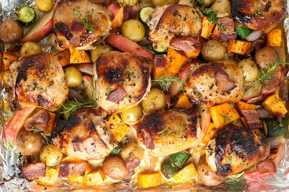 Sheet Pan Chicken and Roasted Harvest Vegetables overhead view