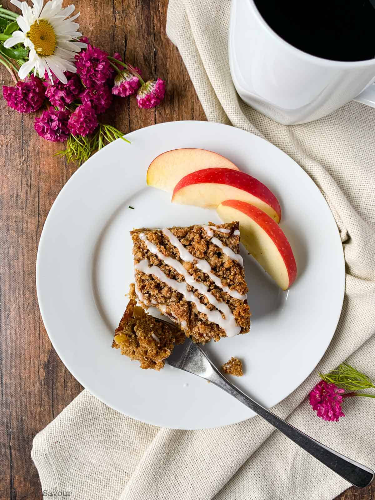a forkful of gluten-free apple coffee cake