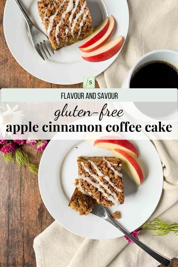 image with text overlay for gluten-free apple cinnamon coffee cake
