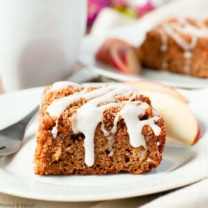 a square of apple cinnamon coffee cake with maple walnut streusel