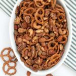 Sweet and Spicy Pretzel Nut Snack Mix. A holiday tradition! |www.flavourandsavour.com