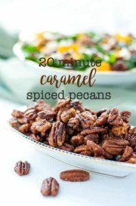 20 Minute Caramel Spiced Pecans with salad in the background