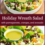 PInterest pin for Holiday Wreath Salad with pomegranate mandarin and