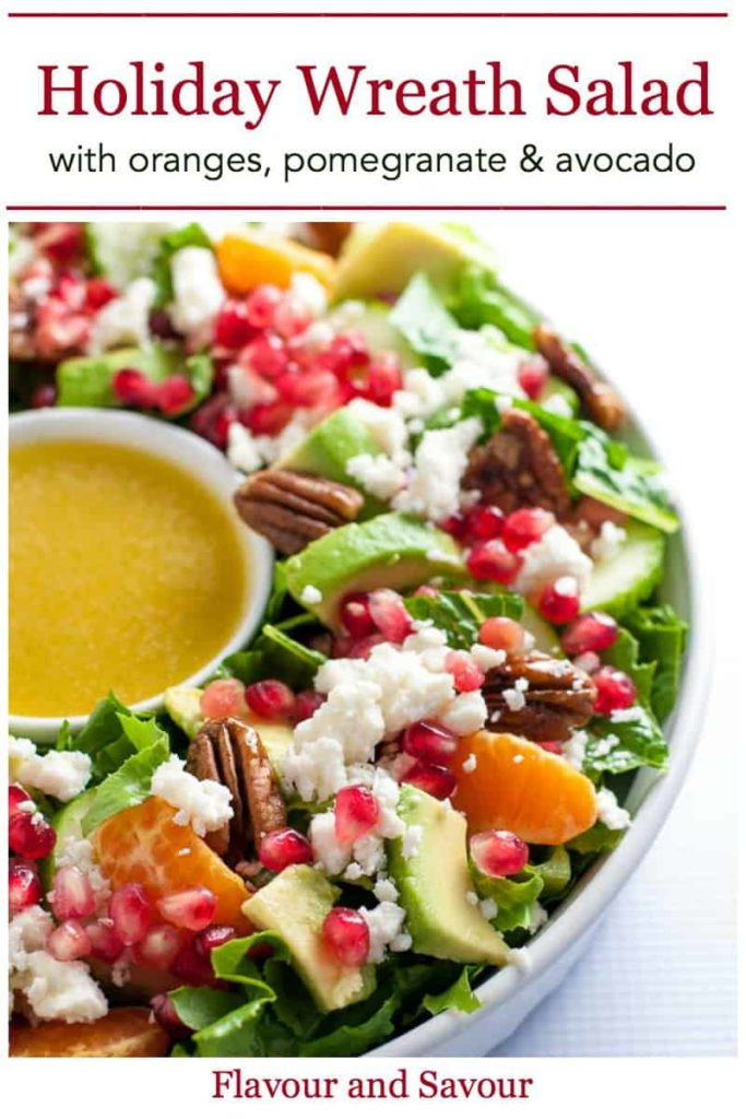 Pinterest pin for Christmas Wreath Salad