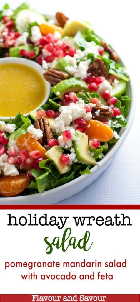 Holiday Wreath Salad in a round dish with a bowl of dressing in the middle.