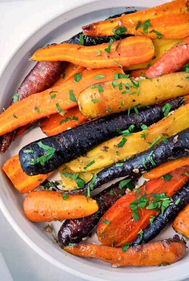 Roasted Carrots with Honey-Mustard glaze made with rainbow carrots