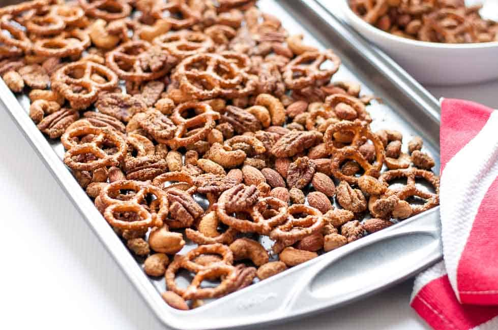 Sweet and Spicy Pretzel Nut Snack Mix - Flavour and Savour