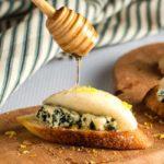 Blue Cheese and Crisp Honeyed Pear Crostini.