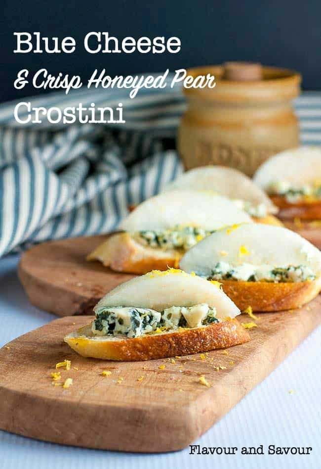 Blue cheese and Crisp Honeyed Pear Crostini