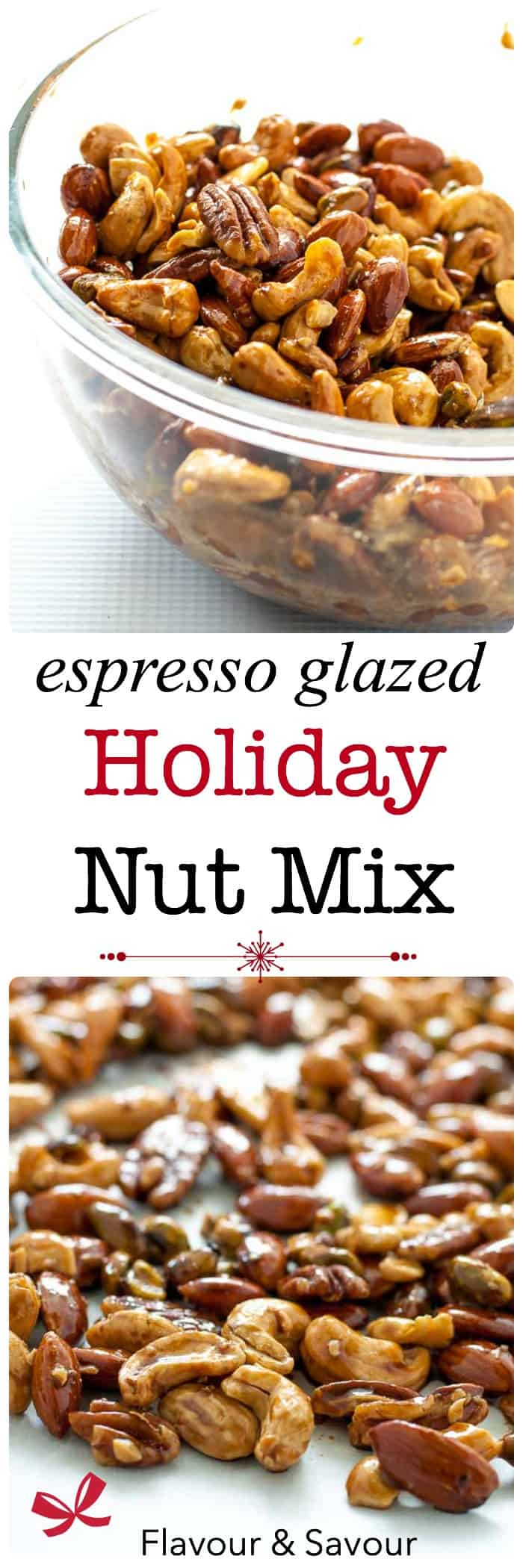 Make this easy 4-ingredient Espresso Glazed Holiday Nut Mix as gifts for friends and family, or just devour it yourself!